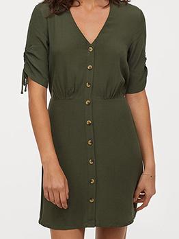 Solid Single-Breasted Drawstring Sleeve Short Dress