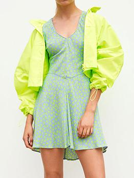 Fresh Style Heart Printed Short Sleeve Dresses