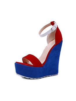 Fashion Contrast Color High Platform Wedge Sandals