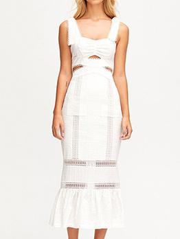 Boutique Square Neck Hollow Out Midi Dress