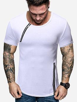 Casual Patchwork Zipper T-shirt Design For Men
