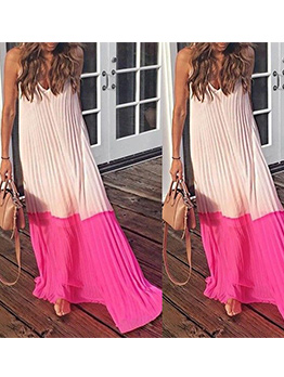 Contrast Color Pleated Strap Maxi Dress For Vacation