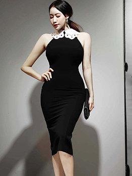 OL Style Off Shoulder Slim Sleeveless Dresses