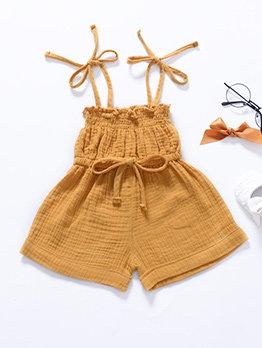 Tie Shoulder Solid Color Baby Girls Romper