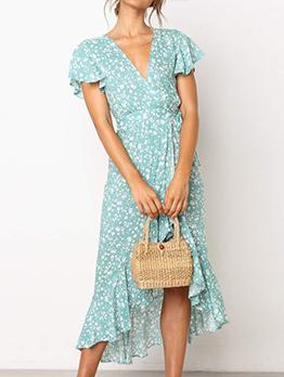 V Neck Printed Irregular Ruffled Sleeve Dress