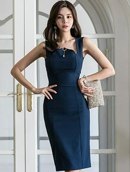 Korean Style Solid Fitted Slit Sleeveless Dress