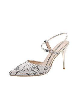 Elegant Plaid Striped Pointed Ankle Strap Heels