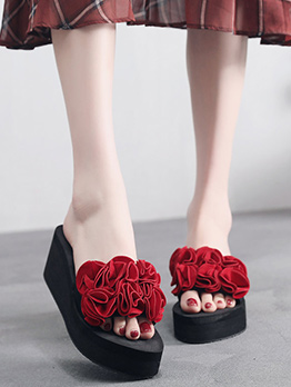 Flower Decor Platform Slide Slippers For Women