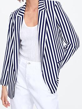 Fashion Striped Navy Blue Blazer For Women