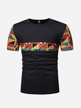 National Style Patchwork T-shirt Design For Men