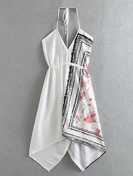 New Arrival Asymmetrical Printed Halter Dress