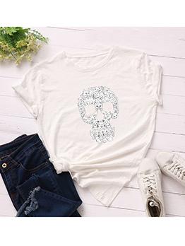Contrast Color Skull Design Short Sleeve T-Shirt
