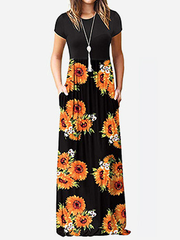 Vintage Style Patchwork Printed Short Sleeve Maxi Dress