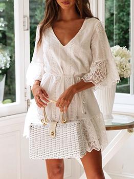 V-neck Lace Embroidery Drawstring White Dress