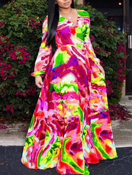 Fashion Chiffon Short Sleeves Printed Maxi Dress