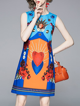 Casual Style Printed Sleeveless Dress