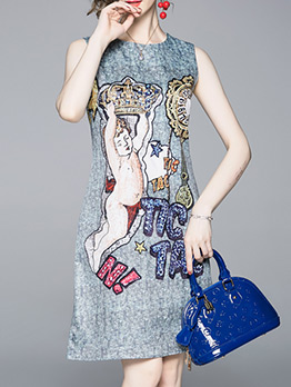 New Arrival Vintage Print Sleeveless Dress