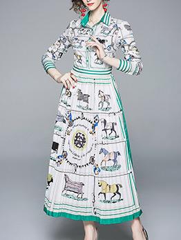 Vintage Animals Printed Pleated Maxi Dress