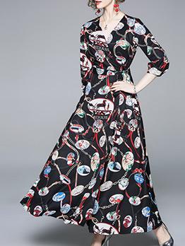V-neck Tie Wrap Vintage Print Maxi Dress