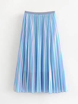 High Waist Pleated Maxi Skirt For Women