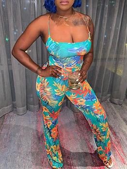 U Neck Printed Backless Cross Lace Belt Strap Jumpsuit