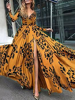High Slit Printed Big Swing Evening Maxi Dress