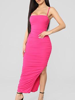 Elegant Solid Draped Split Hem Maxi Dress