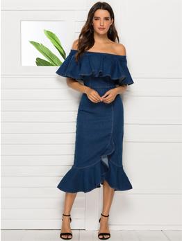 Off Shoulder Solid Color Ruffled Dress