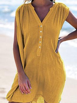 V Neck Single-Breasted Solid Sleeveless Dress