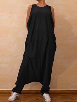 Solid Loose Pocket Sleeves Long Jumpsuit