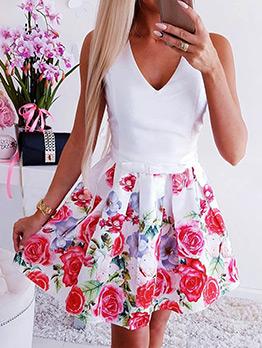 V Neck Smart Waist Printed Sleeveless Dress