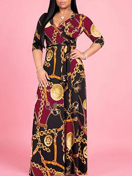 Vintage Chain Printed Plus Size Maxi Dress