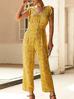 V Neck Printed Button Up Ruffles Sleeve Jumpsuit