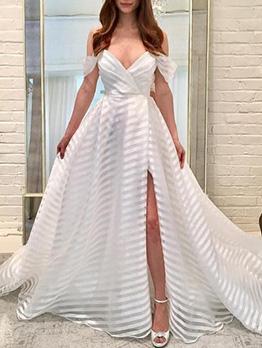 Deep V Neck Split Hem Gauze Prom Dress