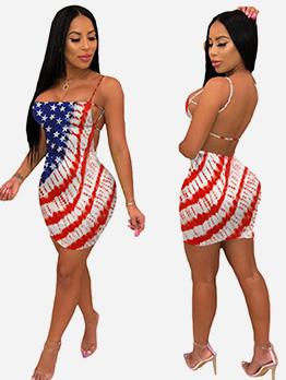Backless Striped Star Printed Short Dress