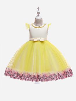 Beading Embroidery Gauze Flower Girls Dress