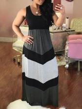Sexy Color Block Sleeveless Maxi Dress