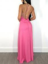 Sexy V Neck Backless Sleeveless Ruffles Maxi Dress