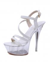 Elegant Buckle Strap Crystal Stiletto Sandals