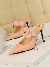 Stylish A-buckle Strap Pointed Women Stiletto Slippers