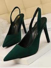 Office Ladies Solid Color Suede Slip On Heels