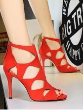 Sexy Peep Toe Hollow Out Zipper Up Roman Stiletto Sandals