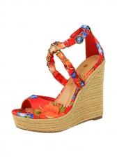 Korean Style Metal Chain Floral Wedge Sandals
