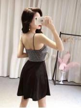 Night Club Patchwork Strap A-Line Dresses