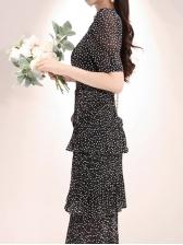 Summer Dots Ruffles Chiffon Midi Dresses