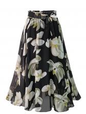 Flower Print Binding Bow Chiffon Skirt