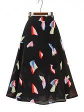Fashion Printed Chiffon Elastic Skirt