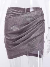 Fashion Pleated Glitter Ruffles Mini Skirt
