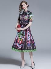 Vintage Bow-Knot Short Sleeve Pleated Dress
