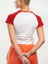 Contrast Color Cartoon Printed Women Cotton T-shirt